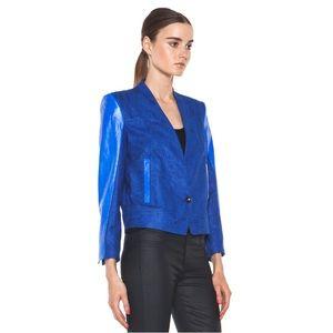 Helmut Lang Blue Lamb Leather Crop Jacket Blazer